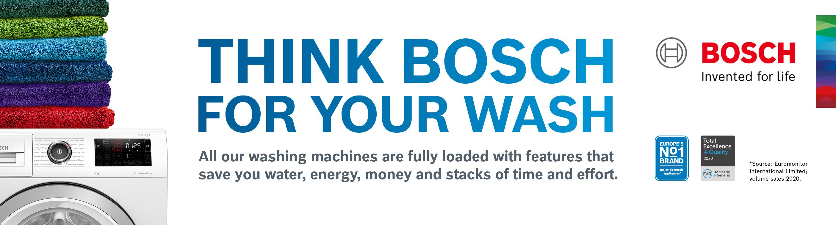 Bosch Think Bosch for Your Wash Banner Homepage Aug 20221