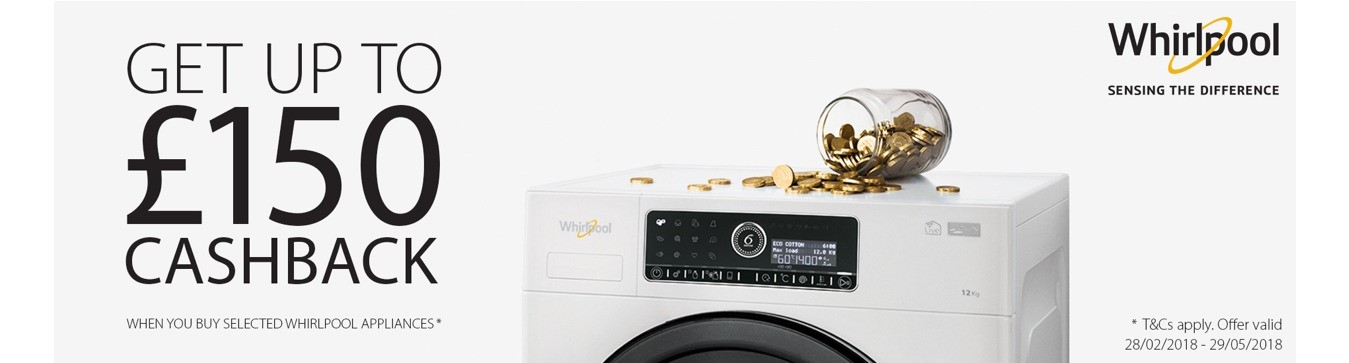 150 cashback on Whirlpool