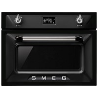 smeg SF4920VCN45cm Height Victoria Black Compact Combination Steam Oven A+