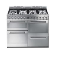 Smeg SYD4110110cm Symphony Stainless Steel Four Cavity Dual Fuel Cooker with Side Opening