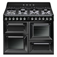 Smeg TR4110BL1110cm Victoria Gloss Black Four Cavity Dual Fuel Traditional Cooker with Side Opening Ovens