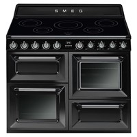 Smeg TR4110IBL110cm Black Four Cavity Traditional Cooker with Induction Hob