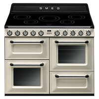 smeg TR4110IP110cm Victoria Gloss Cream Four Cavity Traditional Cooker with Side Opening Ovens and Induction Hob