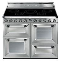 Smeg TR4110IX110cm Victoria Stainless Steel Four Cavity Traditional Cooker with Side Opening Ovens and Induction Hob