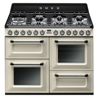 Smeg TR4110P1110cm Victoria Gloss Cream Four Cavity Dual Fuel Traditional Cooker with Side Opening Ovens