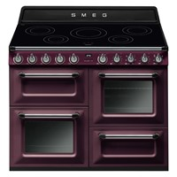 smeg TR4110RW1110cm Victoria Red Wine Four Cavity Induction Traditional Cooker with Side Opening Ovens