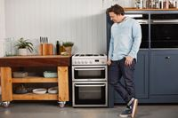 Hotpoint HAG60P60cm Gas Double Oven , Catalytic Liners in main Oven , Timer , Double Glazed Door