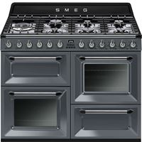 Smeg TR4110GR110cm Slate Grey Four Cavity Dual Fuel Traditional Cooker with SideOpening Ovens